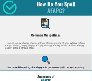 Correct spelling for AFAPG