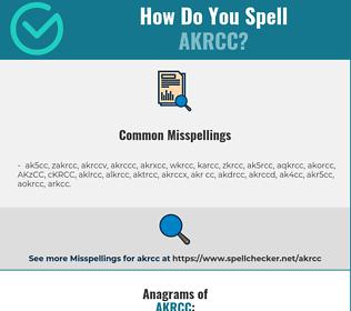 Correct spelling for AKRCC