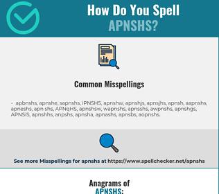 Correct spelling for APNSHS