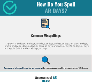 Correct spelling for AR DAYS