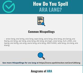 Correct spelling for ARA LANG