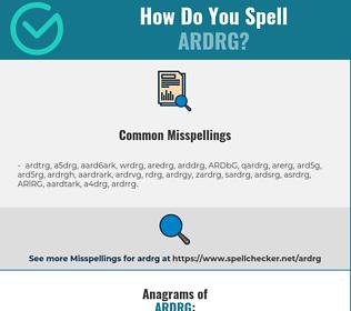 Correct spelling for ARDRG