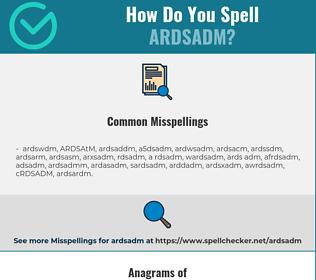 Correct spelling for ARDSADM