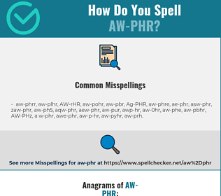Correct spelling for AW-PHR