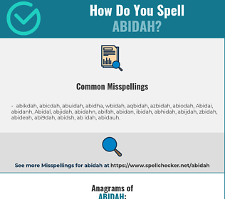 Correct spelling for Abidah