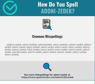 Correct spelling for Adoni-zedek