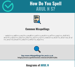 Correct spelling for Arul N S
