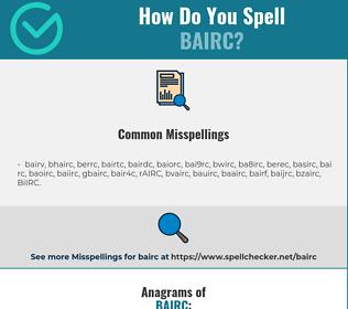 Correct spelling for BAIRC