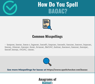 Correct spelling for BAOAC