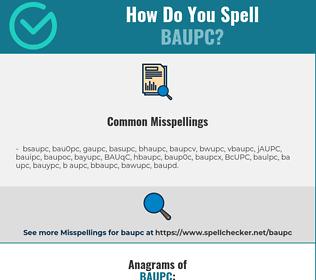 Correct spelling for BAUPC