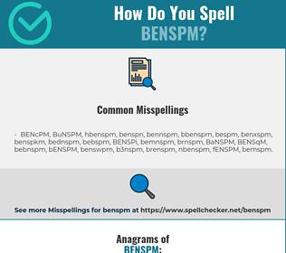 Correct spelling for BENSPM