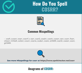 Correct spelling for COSRR