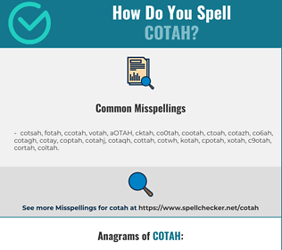 Correct spelling for COTAH