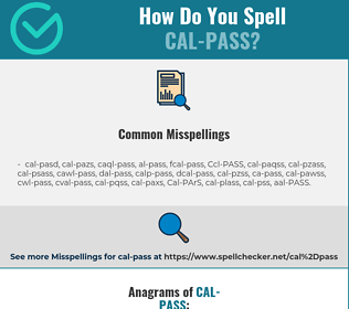 Correct spelling for Cal-PASS