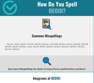 Correct spelling for DEOIR