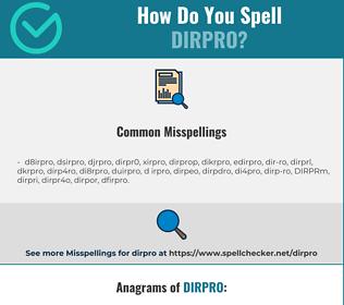 Correct spelling for DIRPRO