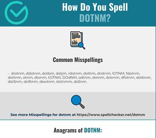 Correct spelling for DOTNM