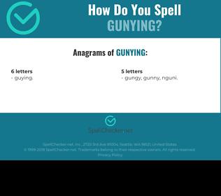Correct spelling for GUNYING