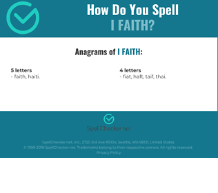 Correct spelling for I faith