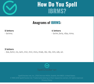 Correct spelling for IBRMS