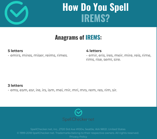 Correct spelling for IREMS