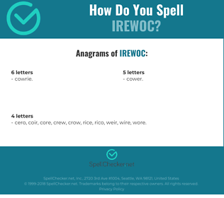 Correct spelling for IREWOC