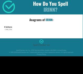 Correct spelling for IRINN