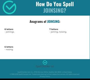 Correct spelling for JOINSING