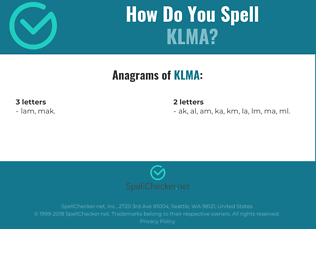 Correct spelling for KLMA