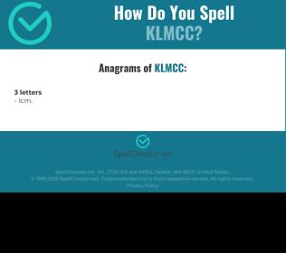 Correct spelling for KLMCC