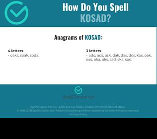 Correct spelling for KOSAD