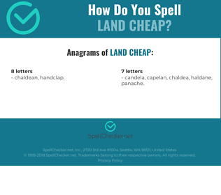 Correct spelling for LAND CHEAP