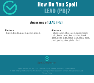 Correct spelling for LEAD (PB)