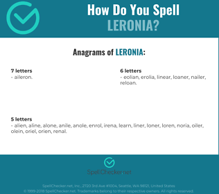 Correct spelling for LERONIA