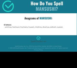 Correct spelling for MANSUSHI