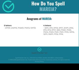 Correct spelling for MAREIA