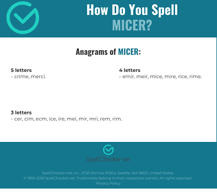 Correct spelling for MICER