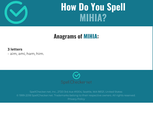 Correct spelling for MIHIA