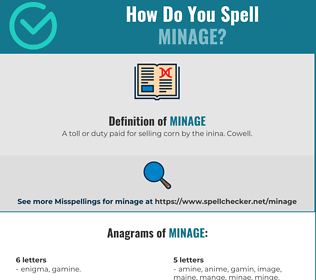 Correct spelling for MINAGE