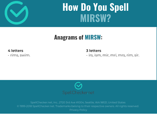 Correct spelling for MIRSW