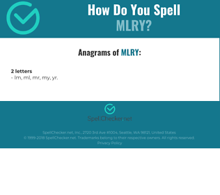 Correct spelling for MLRY