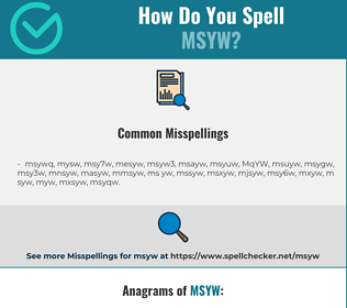 Correct spelling for MSYW