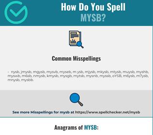 Correct spelling for MYSB