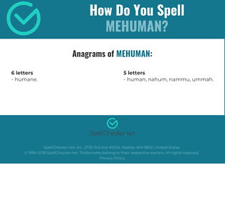 Correct spelling for Mehuman
