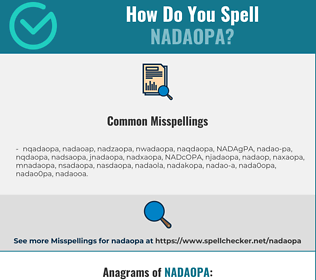 Correct spelling for NADAOPA