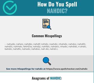 Correct spelling for NAHDIC
