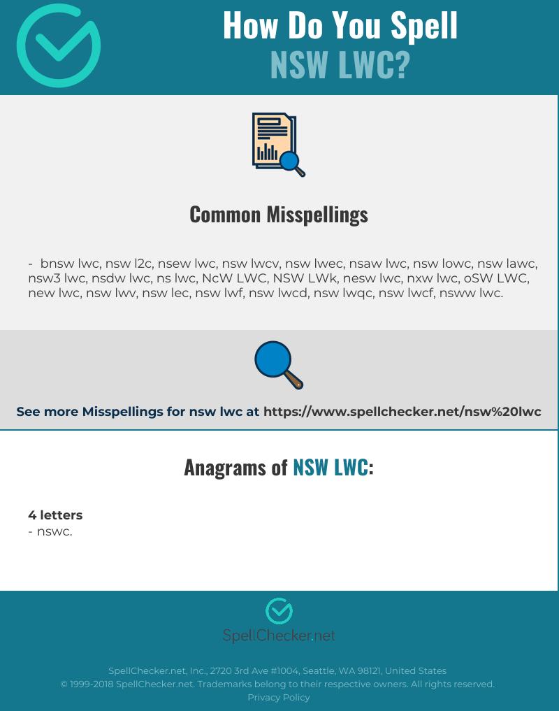 Correct spelling for NSW LWC [Infographic] | Spellchecker net