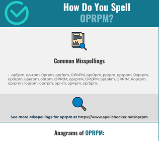 Correct spelling for OPRPM