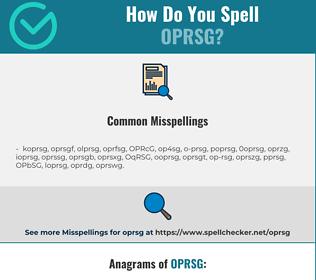 Correct spelling for OPRSG