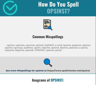 Correct spelling for OPSINST